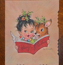 Vintage UNUSED Christmas Card Artist EVE ROCKWELL ANGEL CAROLING with DEER