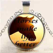Horse make life better Cabochon Glass Tibet Silver Chain Pendant Necklace