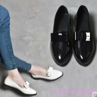 Womens Bowknot Decor Patent Leather Slip on Loafers Low Block Heel Casual Shoes