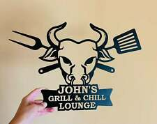 Personalized Grill Chill Name Sign Custom Metal Barbecue BBQ Bull Head Man Gave