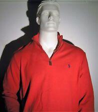 Ralph Lauren Men's Red Half zip Mock Neck Pima Cotton Pullover Sweater XL NEW