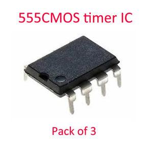 555CMOS timer IC LOW POWER CMOS, DIP8 Pack of 3