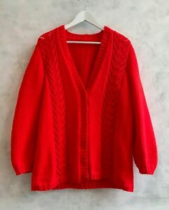 Handmade Bright Red Cable Knit Chunky Oversized Blogger Cardigan Large