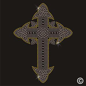 Cross Crucifix Rhinestone Diamanté Transfer Hotfix (iron on motif)
