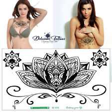 Mandala Temporary Tattoo Large Henna Lotus Underboob Back Chest Body Art Womens