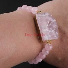 Natural Druzy Rose Quartz Crystal Bracelet With Rose Quartz Round Bead Bracelets