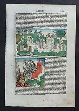 INKUNABEL,SCHEDEL WELTCHRONIK,DEUTSCHE AUSGABE, KOLORIERT,BLATT L,1493,RAR