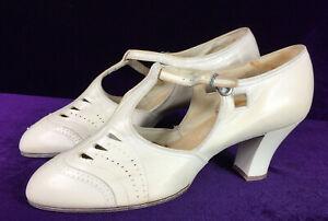 Sz 6.5 1920s 20s White Leather T-Strap Louis Heel Shoes Flapper