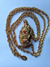 Joan Rivers Fabergé Egg Colorful Pearl Rhinestone Gold Chain Faberge Necklace