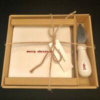 Rae Dunn 2017 Christmas Cheese Set Merry Christmas  & Joy New In Box