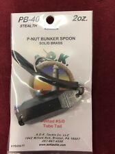 A.O.K. Tackle Solid Brass Lure P-Nut Bunker Spoon 2oz Mustad 5/0 Tube Tail