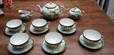 Chinese Japanese cups and saucers thin porcelain Village & Bamboo scene Vintage