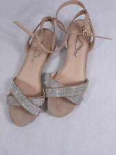 Nina Sandal Silver Glitter Rhinestone Formal Wedding Shoe Size 9