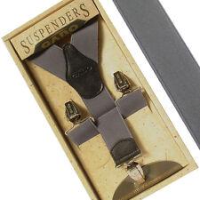 Men Women Elastic Suspenders Y-Shape Clip-on Adjustable Retro Solid Braces GRAY
