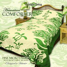 King Hawaiian Quilt comforter Bedspread Turtle with 2 shams Green