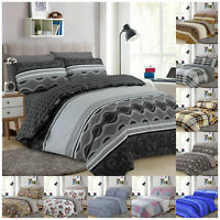 Luxury 100% Cotton Duvet Cover Set With 2 Pillowcases & Fitted Sheet All UK Size