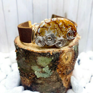 Brown Leather and Stone Bracelet BR18