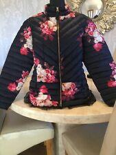 Joules Elodie Navy pink Bircham jacket padded quilted chevron marine size 18