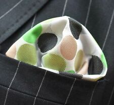 Hankie Pocket Square Handkerchief Penny Spot Green Brown Black Yellow