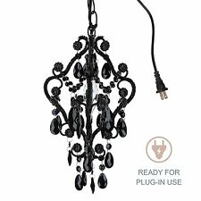1-Light Mini Black Crystal Chandelier Small Plug In Swag Girls Room Fixture Lamp