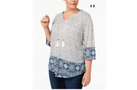 NWT Style Co Plus Size Printed Peasant Top Global Fog 0X 608356307851