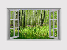 127 NEW X LARGE CANVAS 18''x32'' WALL ART GREEN FOREST HILL WINDOW PRINT PICTURE
