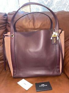 NWT COACH 53396 Colorblock Harmony Hobo Leather Bag Brown Oxblood $995
