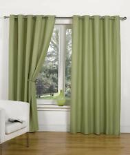 CANVAS GREEN CURTAINS EYELET RING TOP UNLINED PLAIN LINEN LOOK OLIVE MINT MOSS