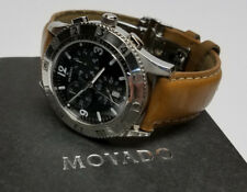 Movado Mens Stainless Steel Swiss Chronograph Sport Watch -Leather Band  NICE