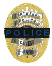"""2 POLICE MOURNING BAND Royal Blue """"Police"""" Lettering on Black Band 1/2"""" W"""