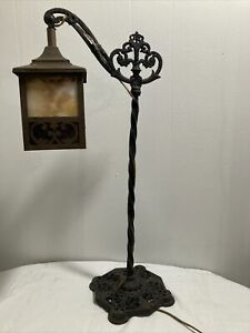 "Nice Antique Art Nouveau Bridge Arm Lamp with  Slag Glass Shade 26 1/2"" Tall"
