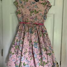 Lands' End Girls Twirl Dress Pink Floral Lined Tied 100% Cotton Sleeveless 14+
