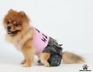 Genuine Doggy Dolly Hip Hop Denim Jeans Jumpsuit T Shirt All In One Pink
