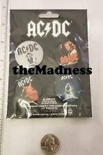 New AC/DC 4 Button Pinback Set Heavy Metal Licensed Official