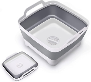 TOLEAD 9L Dish Basin Collapsible with Drain Plug and Plastic Handles, Wash Basin