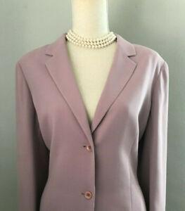 $300 Casual Corner Petite Sophisticate Womens Mauve Pink Blazer Pant Suit SZ 14