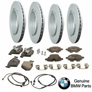 For BMW F10 5-Series Front & Rear Vented Brake Rotors w/ Pads & Sensors Genuine