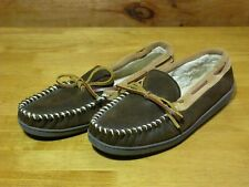 Minnetonka Brown Leather/Suede Faux Fur Lined Moccasin Slippers - Size 9 #41302