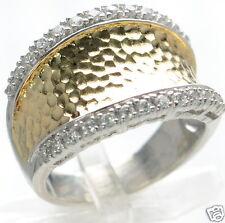 Joseph Esposito Diamonique Solid 925 Sterling Silver Hammered Ring Sz- 7 '