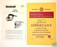 ROCKWELL Jig BAYONET SAWS MANUAL & GUIDE c/w ORIGINAL ENVELOPE #RR34