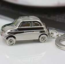 Fiat 500 Keyring NEW In a Box - UK Seller Silver Original Model 1950's