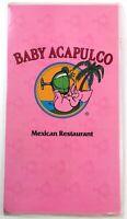 1980's Large Vintage Menu BABY ACAPULCO Mexican Restaurant Austin Texas
