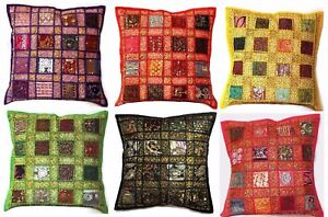 """Cushion Covers 16x16"""" Indien Embroidery Patchwork Square Moroccan Pillow Cover"""