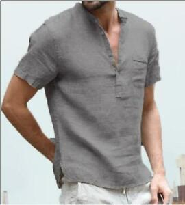 New Men's Linen Short Sleeve V-Neck Button Casual T-Shirt Loose Blouse