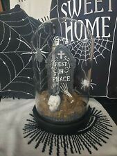 More details for tkmaxx halloween super rare large cemetary crow glass cloche light up