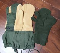 MS US Military Surplus Leather Gloves Trigger Finger Wool Mittens Cold Weather L
