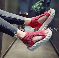 Womens Platform Open Toe High Top Knitted Gladiators Slingbacks Sandals Shoes SZ