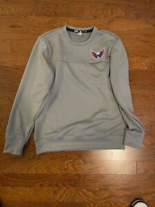 Adidas Washington Capitals Player Crewneck Sweatshirt Men's Size L Gray GH5437