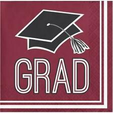 Graduation School Spirit Burgundy Beverage Napkins 36 per Pack