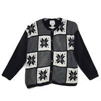 Christopher & Banks Snowflake Cardigan Sweater Sz L Black White Gray Acrylic